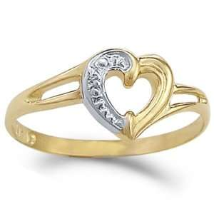 Heart Ring 14k White Yellow Gold Right Hand Love Band, Size