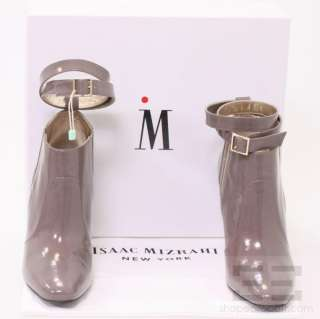 Isaac Mizrahi Taupe Patent Leather Ankle Strap Heeled Booties Size 38