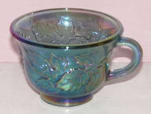 INDIANA CARNIVAL GLASS PUNCH CUP BLUE HARVEST GRAPE