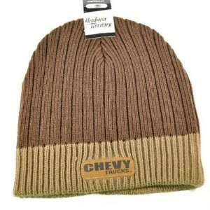 BEANIE KNIT HAT CAP CHEVROLET CHEVY TRUCKS RACING BROWN
