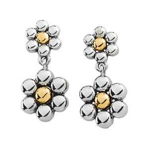 14K White/Yellow Gold PAIR Two Tone Metal Fashion Earring