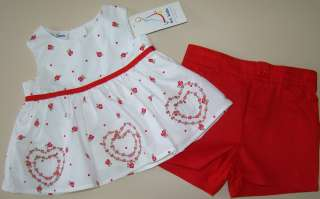 NWT Girls Red Heart Shorts Shirt B.T. KIDS Sz 12 Mos.