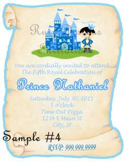 NEW DESIGN** SAMPLE #5 Pink/Blue Princess&Prince Scroll Invite