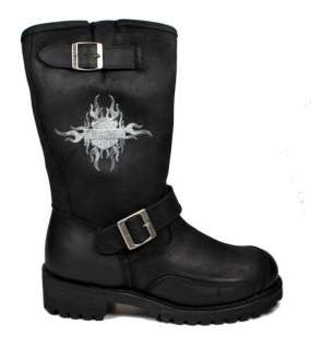 DAVIDSON Boots Logger Conductor Black Men Boots 91066 with Flame