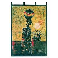 AFRICAN MOTHER & CHILD~Batik Wall Hanging~Africa Art~