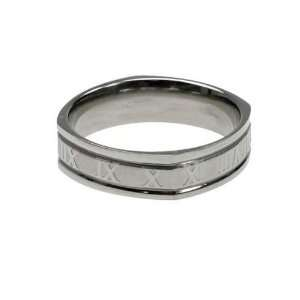 Stainless Steel Ring with Roman Numerals, Width 6mm, Sizes 9.0 12.0