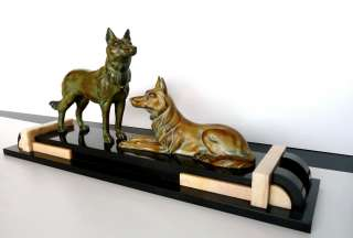 Large Art Deco German Shepherd Sculpture Figure Group