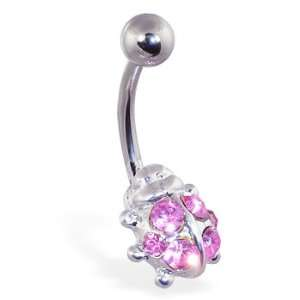 Pink jeweled ladybug belly ring Jewelry
