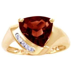14K Yellow Gold Trillion Gemstone and Diamond Ring Garnet