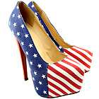 LADIES WOMEN USA AMERICAN FLAG STARS STRIPES STILETTO HIGH HEEL PARTY
