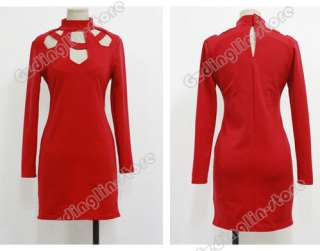 New Womens Hollow Out Sexy Long Sleeve Polo Neck Clubwear Party Mini