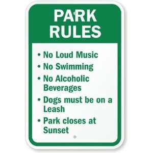 Park Rules High Intensity Grade Sign, 18 x 12 Office