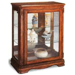 Light cherry finish wood curio cabinet with glass shelves and mirrored