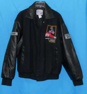 Black Leather & Wool Bomber Jacket Coat Alberta Rail Train Embroidered