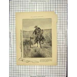 C1880 Cow Boy Post Office Horse Stanley Wood Print
