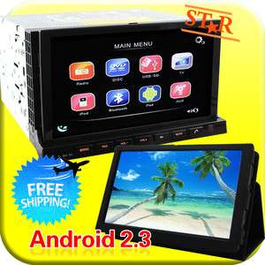Android 2.3 2 DIN In Dash Car DVD Player Head Unit GPS NAV+7 Tablet