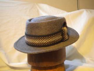 Vintage Water Way Washburn Pork Pie Fedora Hat, Gray