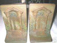 BRADLEY HUBBARD CAST IRON BOOKENDS BRONZE ART NOUVEAU HOUSE BOOK ENDS