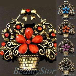1 pc antiqued rhinestone flower basket brooch pin