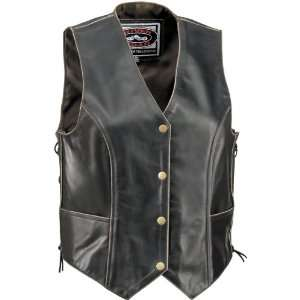 RIVER ROAD VINTAGE WOMENS LEATHER VEST BLACK MD