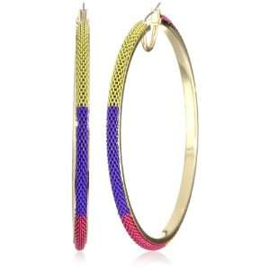 BCBgeneration Pink Toned Color Block Chain Hoop Earrings Jewelry