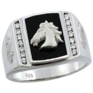 Sterling Silver Mens Black Onyx Horse Ring w/ CZ Stones