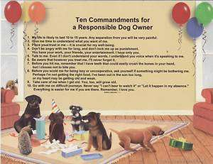 Dog 10 Commandments 4 owner Poem Personalized Name Prin