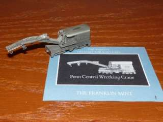 1989 FRANKLIN MINT PEWTER TRAIN CAR PENN WRECKING CRANE