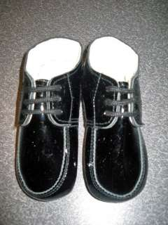Sarah Louise England Baby Boys Black Patent Crib Shoe Size 1 and 3