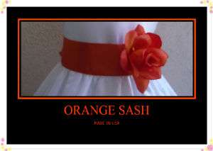 NEW ORANGE SASH BELT MATCH WEDDING FLOWER GIRL DRESS