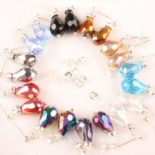 10 Pairs Mixed Crystal Glass Drop Bead Dangle Earrings