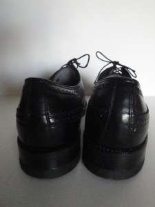NEW vintage FLORSHEIM Wing Tip Shoes 10 NOS Black Leather Dress