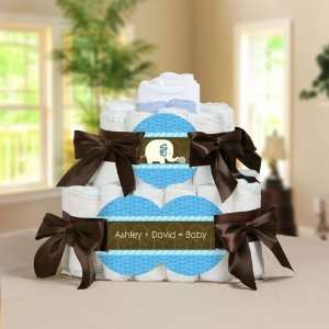 Baby Elephant   2 Tier Personalized Square   Baby Shower Diaper Cake