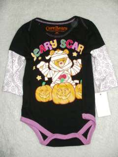 New Baby Girls CARE BEARS Beary Scary Halloween Onesie Long Sleeves