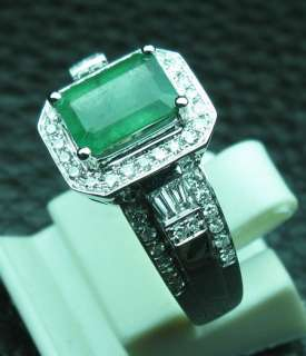 23CT SOLID 14K WHITE GOLD NATURAL EMERALD DIAMOND RING