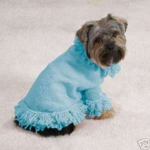 AIR BLUE Stretch Knit Fringed Dog Sweater Coat ExLARGE