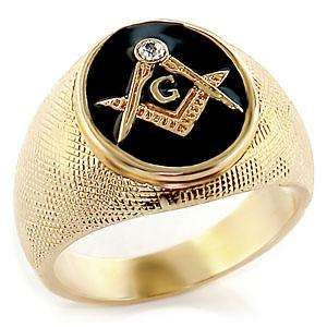 GOLD EP CUBIC ZIRCONIA BLACK MASONIC MENS RING
