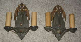Pair Period Art Deco Sconces , Lamps Cast Iron & Brass
