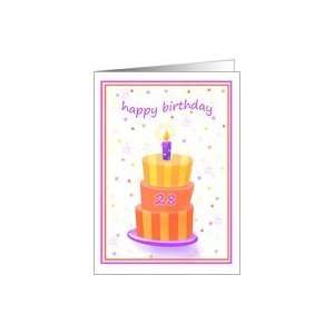 28 Years Old Happy Birthday Stacked Cake Lit Candle Card