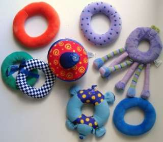 Lot 8 Miscellaneous Baby Boy Girl Soft Plush Ring Toys