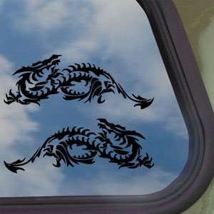 Horizontal Blade Dragon Black Decal Truck Window Sticker