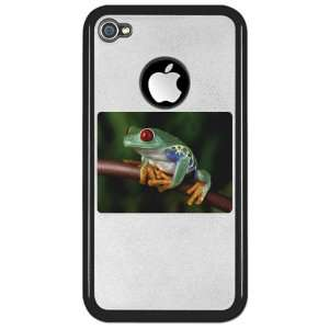 iPhone 4 or 4S Clear Case Black Red Eyed Tree Frog