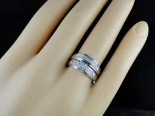 MENS WHITE GOLD FINISH DIAMOND ENGAGEMENT BRIDAL WEDDING RING TRIO SET