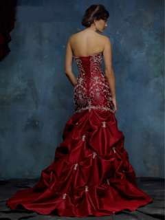 Wine red Stock Red Satin Embroidery Wedding Dress Prom Gown Size8, 10