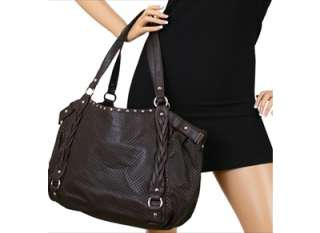 Brown Braided Silver Studs Shoulder Tote Bag