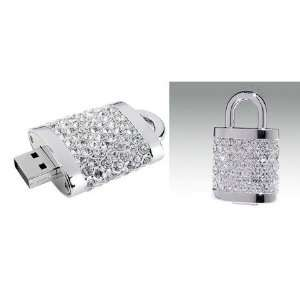 Active Crystal USB Flash Drive Lock Pendant, 2GB