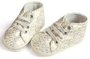 Soft Sole Baby Girl/Boy Silver LOGO Crib Shoes. Age 0 18 Months