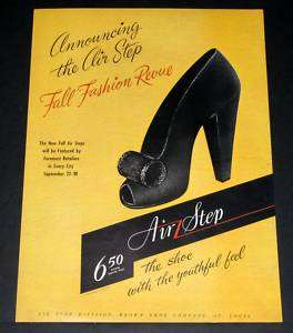 WWII MAGAZINE PRINT AD, AIR STEP SHOES, FALL FASHION REVUE, YOUTHFUL
