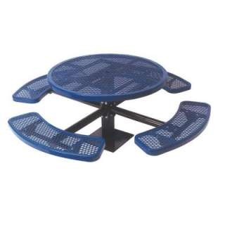 Play Commercial Park 46 in.Round Table  Surface Mount, Diamond, Blue