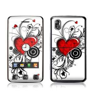 LG Cookie KP500 Skin Cover Case Decal Red Hearts